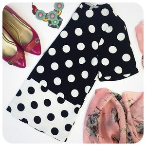 {{ Daniel Rainn }} Black White Polka Dot Blouse
